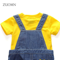 Summer Toddlers Girls Suits Kids Top Shirt Bib Pants Outfit Minions Baby Overalls Suit Children Sets