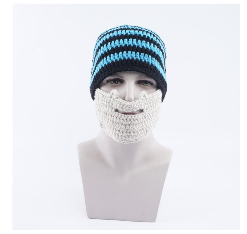 2019 Funny Cosplay Beard Hat Men S Knit Hat Personality Stripes Warm ... a098b4af3bc