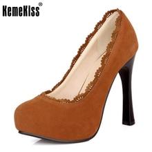 Kemekiss Женские туфли на высоком каблуке на платформе с острым носком Брендовые женские модные пикантные туфли-лодочки каблуки обуви плюс большой размер 30-48 P16619