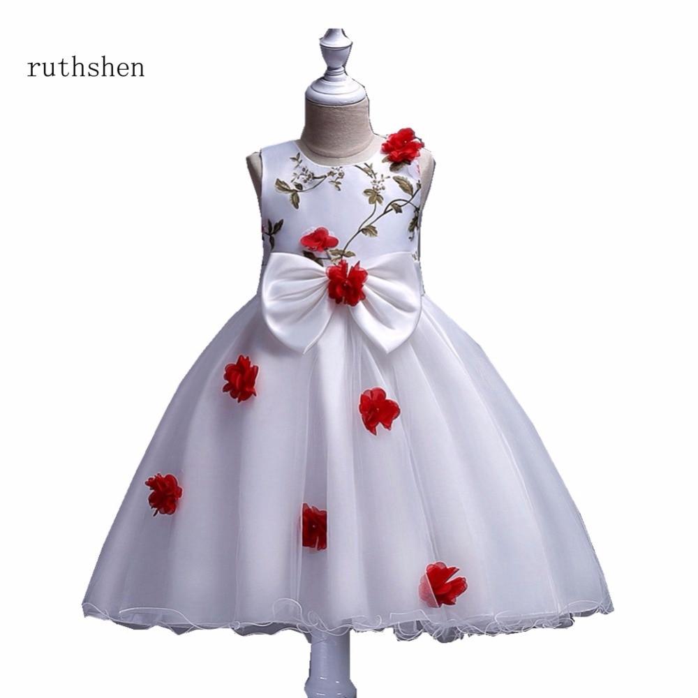 Ruthshen 2018 New Flower Girl Dresses Butterfly Red Purple Blue