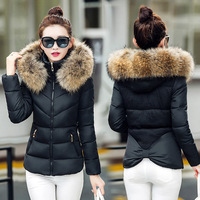 Fur Hooded Warm Slim Thicken Parkas Outwear Women Winter Short Jackets Coats Casual Female Fashion Cotton Jacket Clothing FHJ633