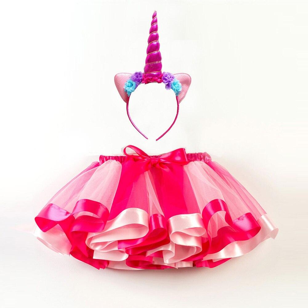 14 Colors Available New Headband& Rainbow Tutu Skirt Set Combination Girl Kids Clothing  Girls