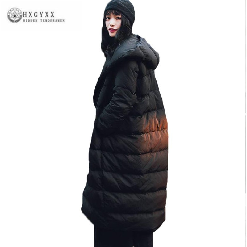 European Style Vintage Plus Size Loose Single Breasted Black Winter Women   Down     Coat   Hooded Hat Long Jacket Female Clothes J130