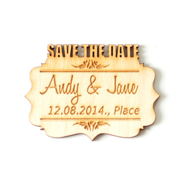 personalize custom wooden carved save the date card wedding name