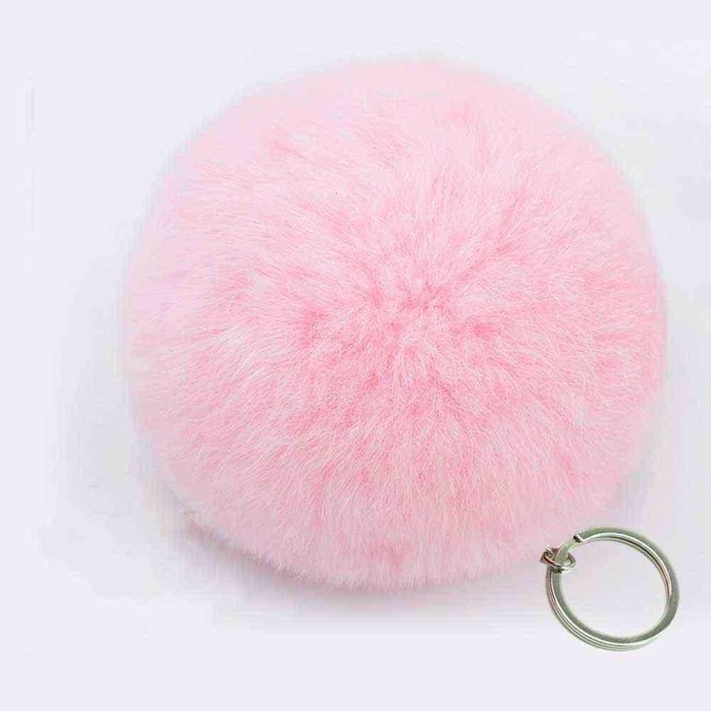 7 cm Moda falso Artificial GRANDE PomPom De Pele Bolsa de couro chaveiro Bola de pele de coelho naturais pom pom Fofo Lindo Chave cadeia poret