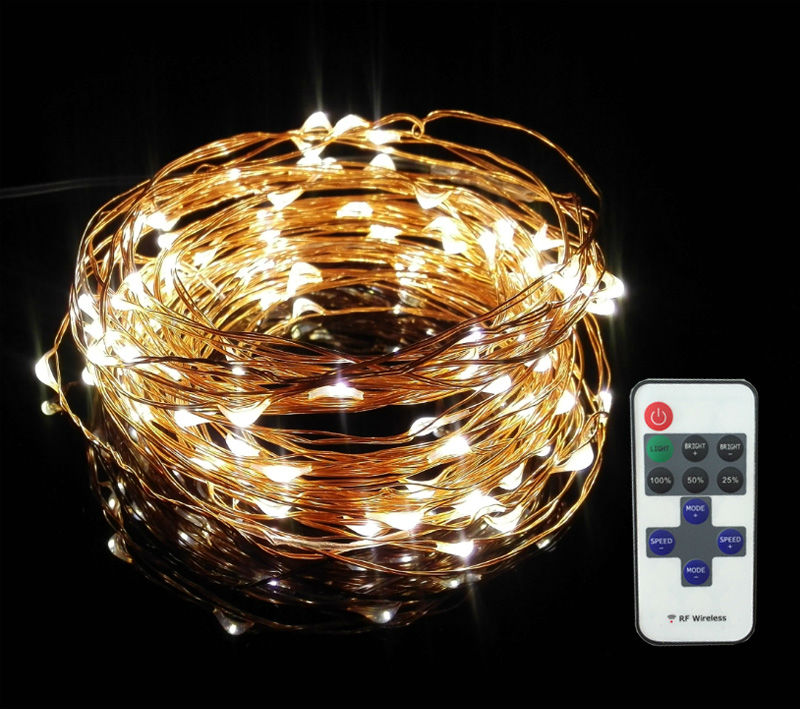 5X10m 33ft 100 LED warm white brown copper wire remote control fairy lights,firefly micro - Compare Prices On Rice String Lights- Online Shopping/Buy Low