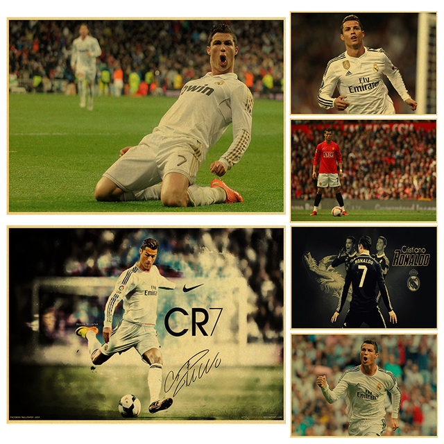 671a75b8323a Soccer player cristiano ronaldo poster wall art print painting Football  Real Madrid paper poster Kid Bedroom