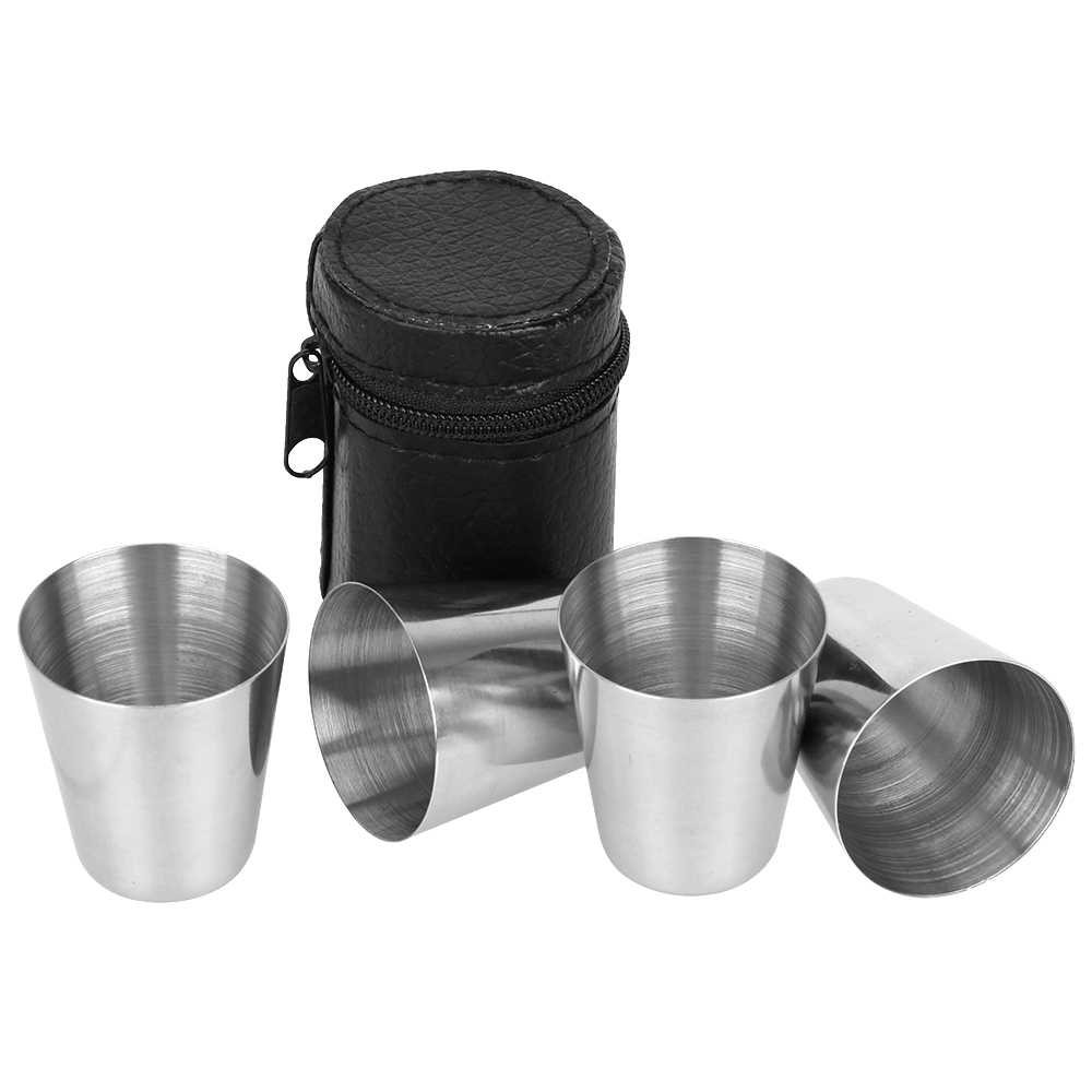 Drinking Cup Polished 30ml Gift Zipper Cover Barware Cup Stainless Steel Wine Glass 4pcs/set