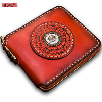 Handmade genuine leather wallet men women short zipper foreskin carving brand original retro hand clutch bag card holder wallets