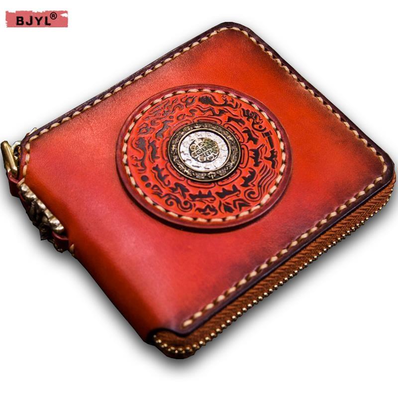 dbfd15705698 Handmade genuine leather wallet men women short zipper foreskin carving  brand original retro hand clutch bag card holder wallets