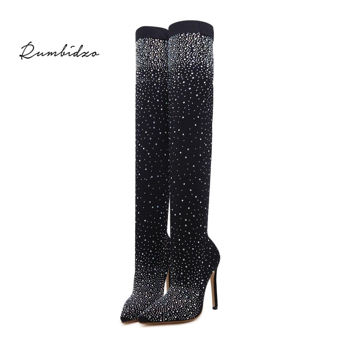 Женские сапоги Rumbidzo 2018 брендовые с острым носком на высоком каблуке Сапоги выше