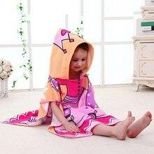 Детский банный халат, накидка с капюшоном и рисунком, детское банное полотенце с капюшоном, пляжное полотенце с принтом