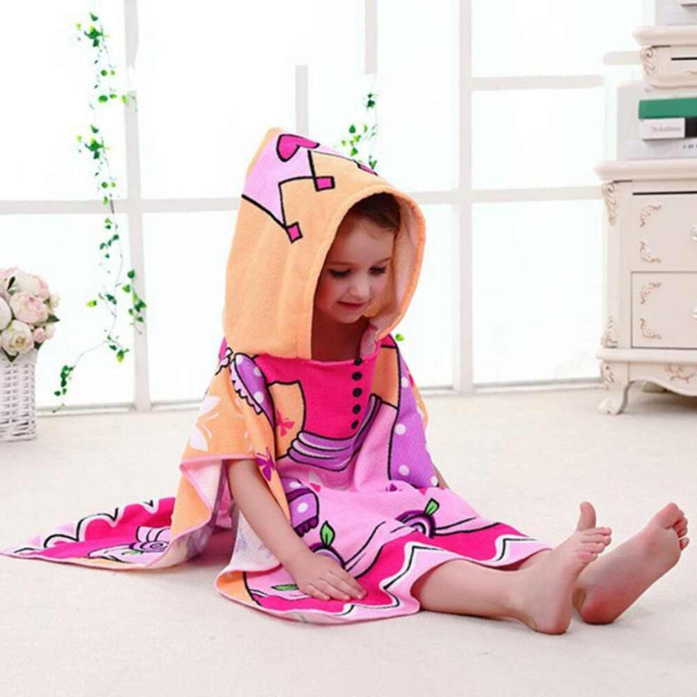 Children's bathrobe cartoon hooded cape children's hooded bath towel heat transfer printed beach towel