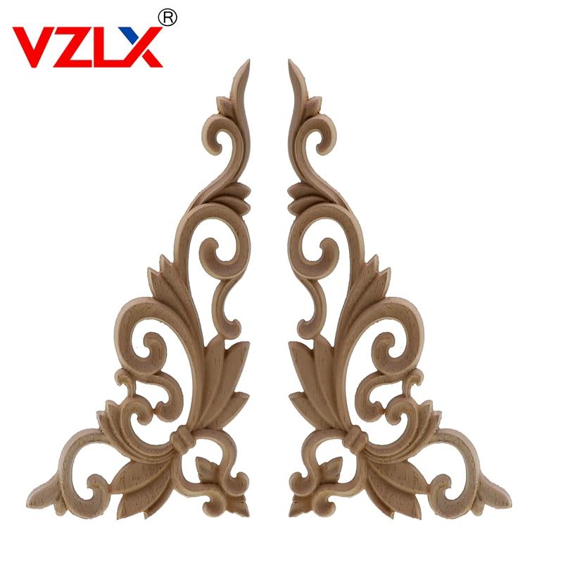 VZLX Wood Carving Furniture Applique Corner Onlay  Door Cabinet Unpainted European Style Wood Carved Appliques