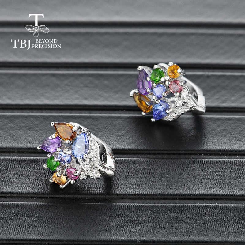 925 sterling silver natural tourmaline amethyst and tanzanite mix gemstone earrings flower design for girls nice birthday gift in Earrings from Jewelry Accessories