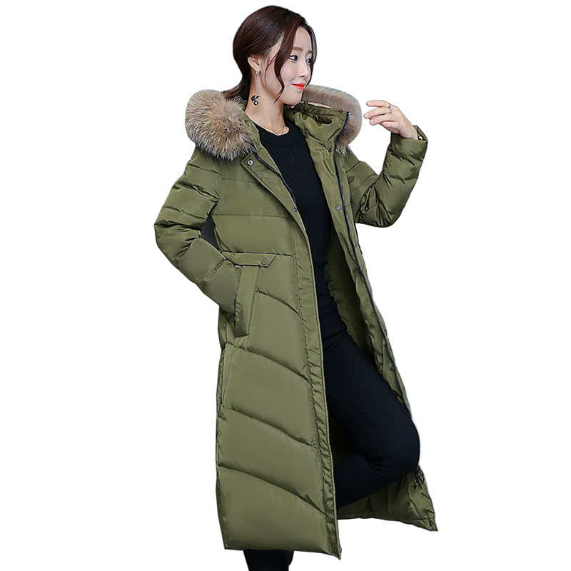 White Duck Down Jacket fashion thickening large fur collar down coat women medium-long winter new woman winter coats and jackets