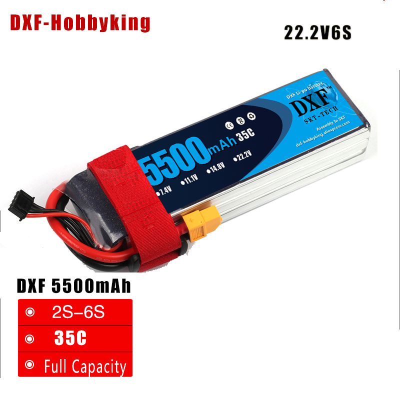 2017 DXF RC Li-polymer Lipo Battery 22.2v 5500mAh 35C 6S XT60 Plug Rechargeable for RCHelicopter Car Boat Part Drone Bateria dxf li poly battery 22 2v 7000mah 35c max60c 6s rc car lipo bateria multicopter quadcopter race car truck traxx drone