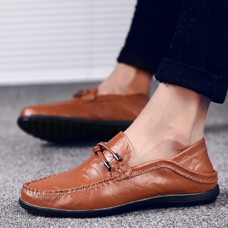 Shoes Original Mut-mat 2019 New Mens Business Casual Lazy One-legged Mens Shoes Trend Breathable Leather Sneakers Autumn