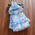Borboleta imprimir com capuz bebés recém-nascidos outerwear 2016 inverno meninas algodão-acolchoado casacos quentes jaqueta grossa roupas infantis Q164
