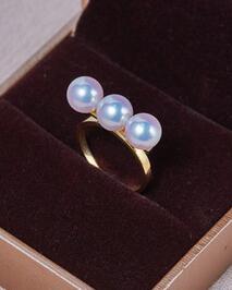Bijoux de mariage AAA + + 7-7.5mm Réel naturel Akoya blanc perle ronde Anneau 18 kgold - 2