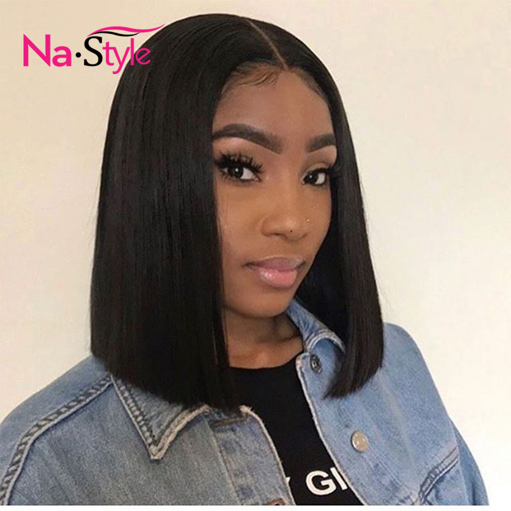 Blunt Cut Bob Wigs For Women Black Short Lace Front Human Hair Wigs Peruvian Virgin Hair Straight Human Hair Wigs Pre Plucked-in Human Hair Lace Wigs from Hair Extensions & Wigs    1