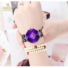 Kingsky Fashion Women Watches Purple Crystal Case Leather Band Luxury Quartz Watch Ladies A1268-4