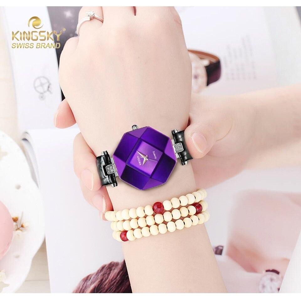Prix pour Kingsky Mode Femmes Montres Purple Crystal Case En Cuir Bande De Luxe Quartz Montre Dames A1268-4