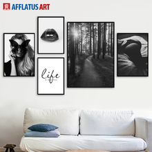 Black White Girl Lip Forest Landscape Wall Art Canvas Painting Nordic Posters And Prints Pictures For Living Room Decor