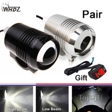 Set 2pcs 12v 30w U2 Led Motorcycle Spot Light Upper Low Beam Flash Head Lamp Waterproof Working Bulb with switch as gift