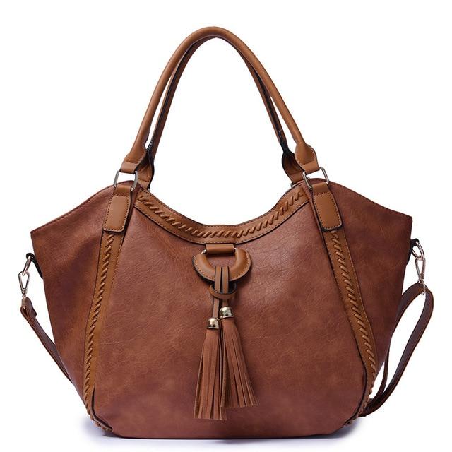 2018 Women s Fringed Hobo Sling Bag Office Shoulder Bag Casual Large Tassel  PU Leather Totes Handbag 3fd170bc46