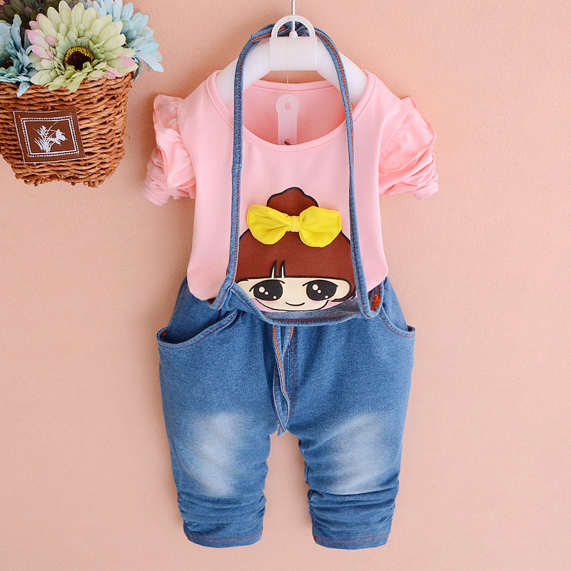 2018 Spring new fashion infant suit Korean baby girl printing Denim pants two pcs clothing set A193