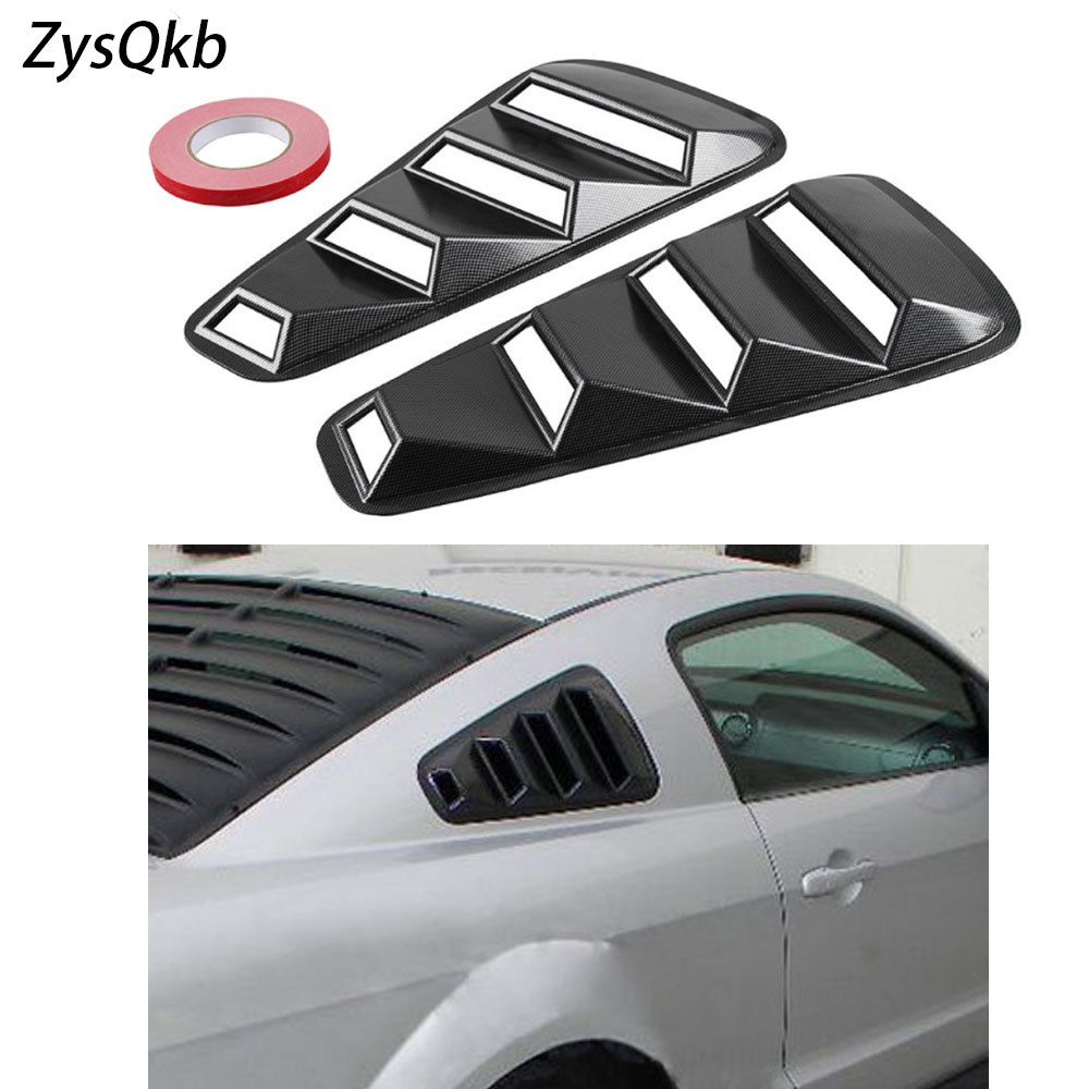 FOR 05-14 MUSTANG CARBON FIBER LOOK 1//4 QUARTER REAR WINDOW LOUVERS COVERS VENTS
