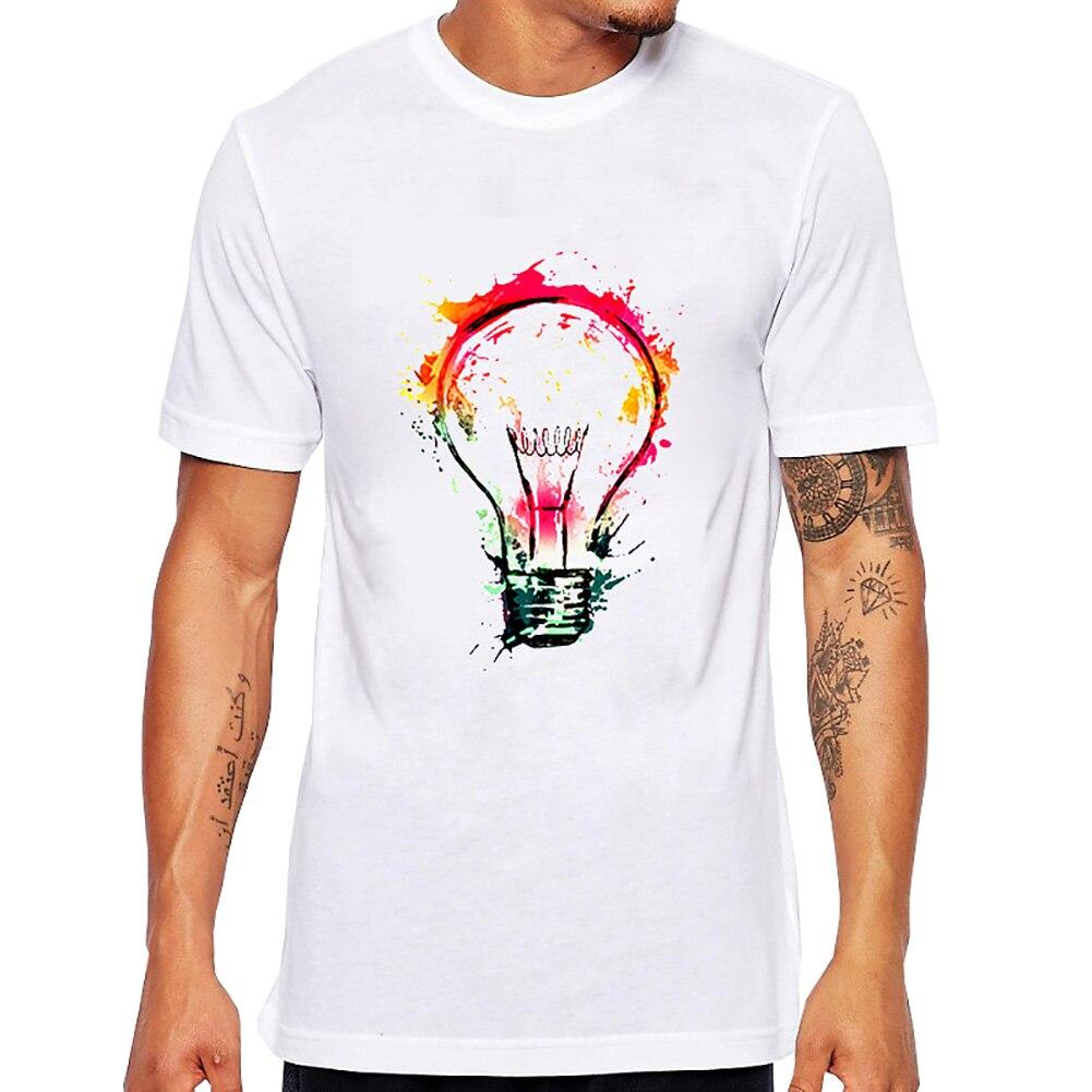 2017 new rock punk men t shirt top tee splash ideas novelty fashion design bulb