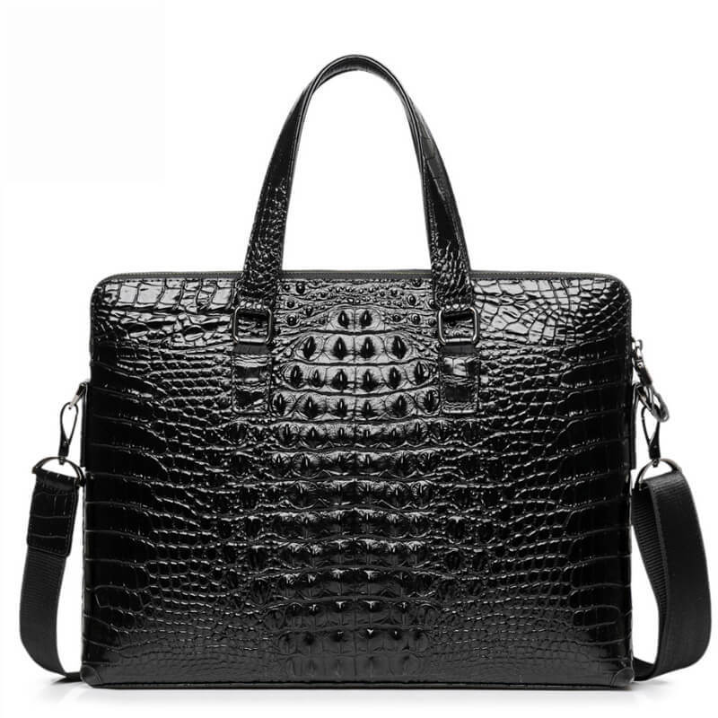 Real Leather men's briefcase Luxury Crocodile Pattern Cowhide Leather briefcase Male Shoulder Bag Commercial Business Bag Best