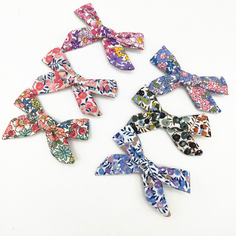 12 Pcs/lot, Vintage Floral Hand Tied Bow Baby Girls Hair Clips Or Headbands, Schoolgirl Hair Bow Clips, You Choose Colors