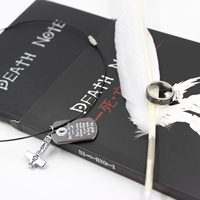 Cubierta Death Note Ryuk Cosplay Conjunto Cuaderno y Pluma de La Pluma y collar y Anillo Set Estacionario Death Note Escritura Diario Nota libro
