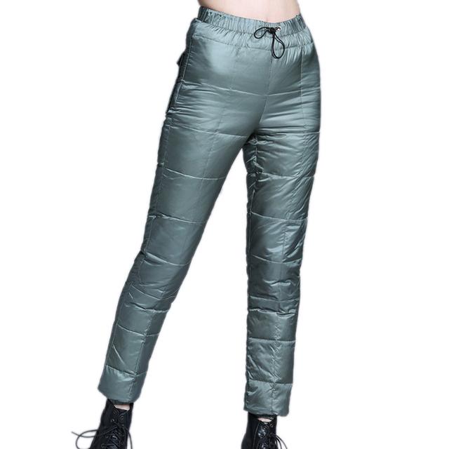 80% de Pato Para Baixo Mulheres Calças de Inverno Calças de Cintura Alta Exterior desgaste de Moda Feminina Quentes Magros Calças Justas Engrossar Pato Para Baixo calças