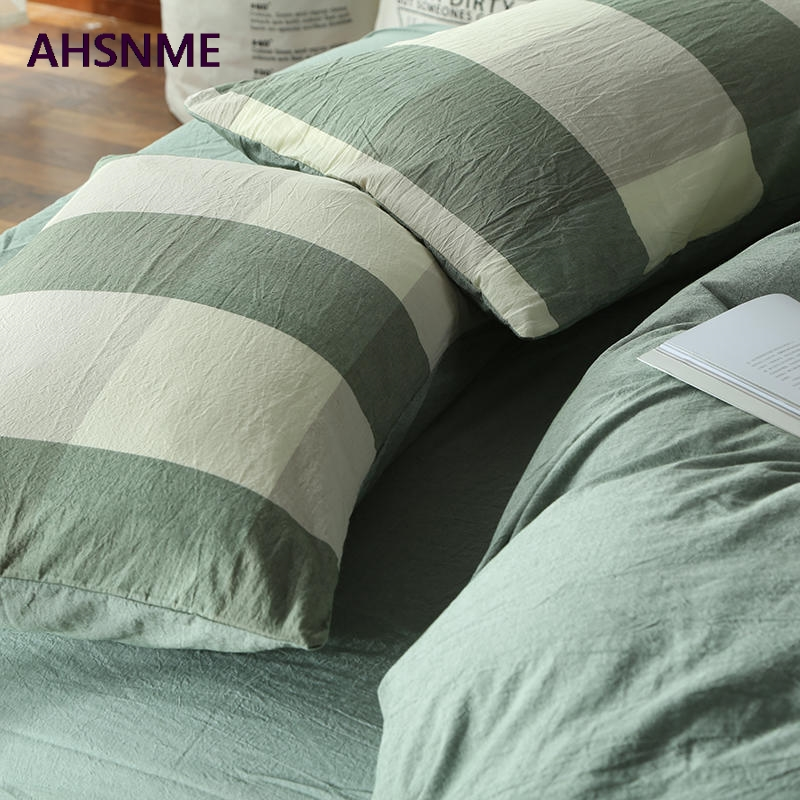 AHSNME 100% Cotton Nevresim Takimlari Super Soft Bedclothes Cool Summer Light Green Plaid Super california king size bedding setAHSNME 100% Cotton Nevresim Takimlari Super Soft Bedclothes Cool Summer Light Green Plaid Super california king size bedding set
