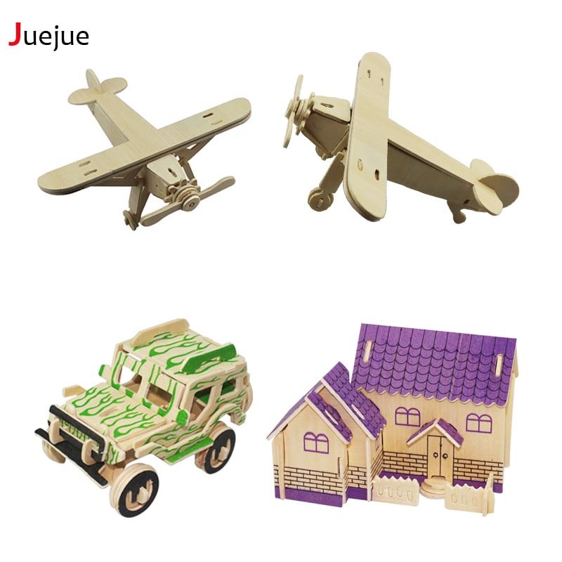 3D Трехмерная деревянный автомобиль пазл игрушки для детей поделки ручной работы деревянные пазлы серии автомобиля