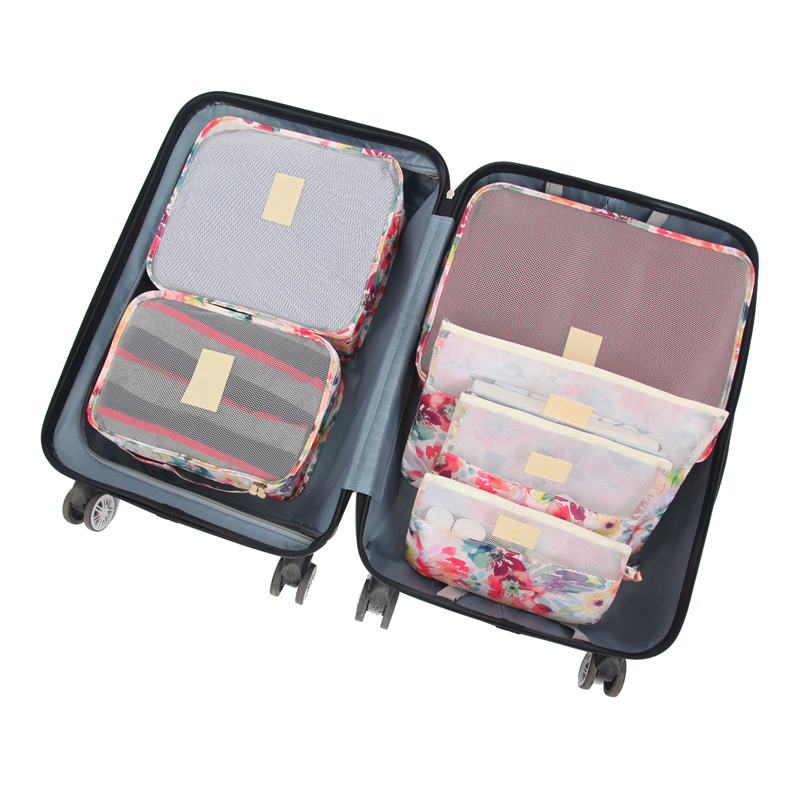 6 Pcs/Set Travel Bags Woman Packing Cube Portable Clothing Underwear Sorting Organizer Luggage Accessories Supplies Products Lot