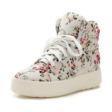 Mujeres de la manera Zapatos de Lona Florales de Impresión de Alta Superior Zapatos de Plataforma de Las Mujeres Atan Para Arriba Zapatos de las cuñas Aumento de la Altura Pisos 5a104