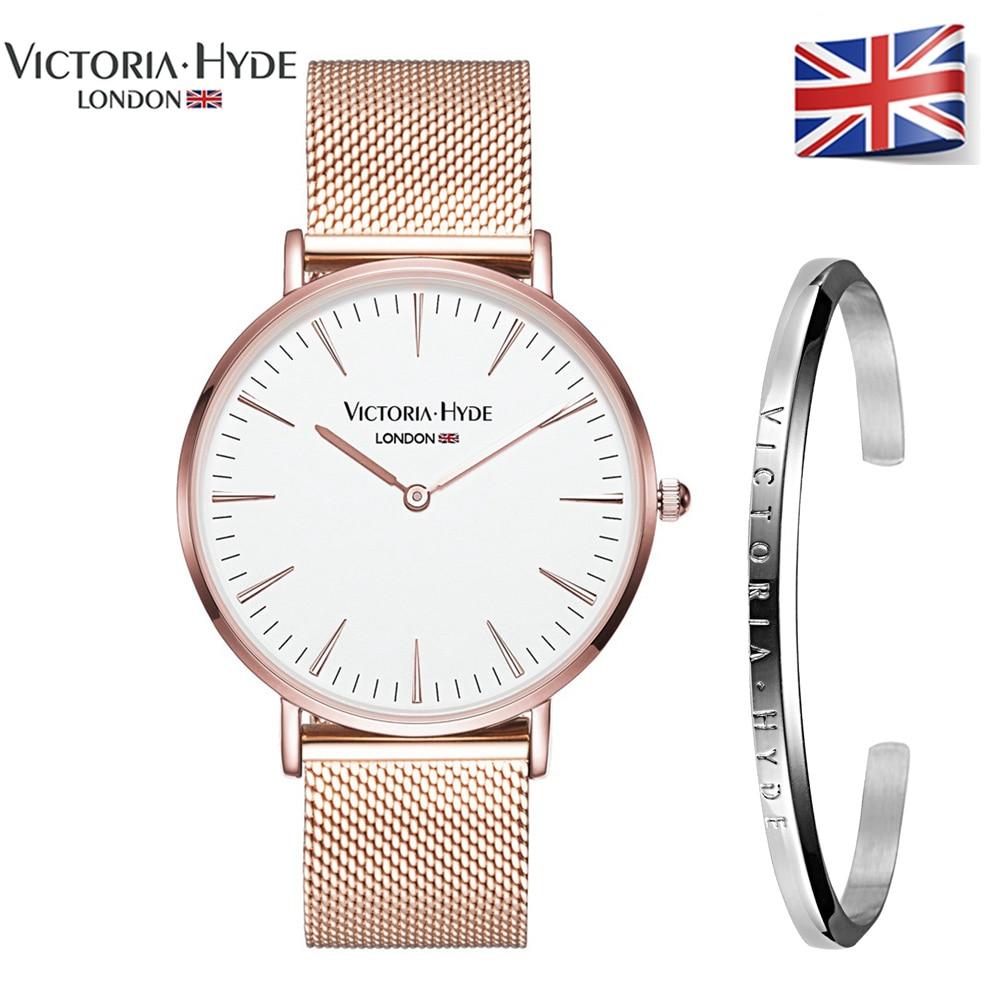 Victoria Hyde Luxury Bracelet Watch Set Rose Gold Lovers' Watches Men Women Quartz Wristwatches Relogio Feminino Jewelry