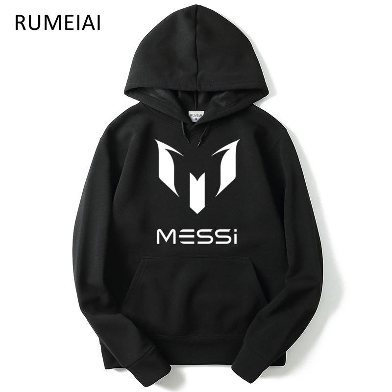 New Autumn Fashion Brand Hoodies Men MESSI Print Casual Sportswear Man Hoody Long Sleeved Sweatshirt Mens