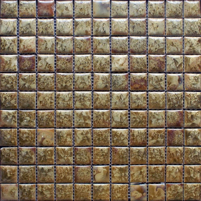 Glazed Porcelain Ceramic Mosaic Tiles Brown Backsplash Tile Bathroom