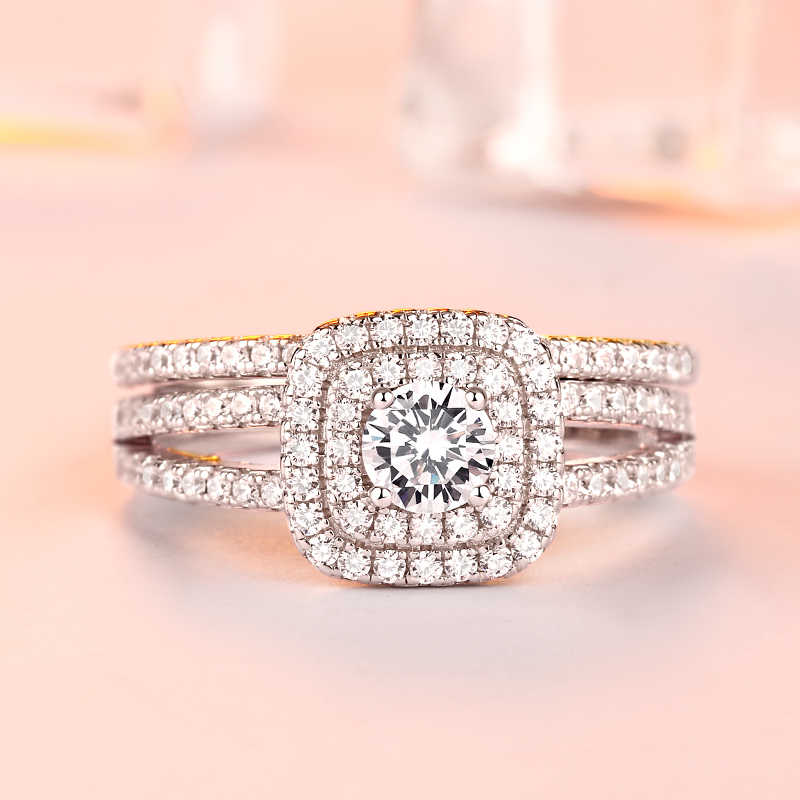 4ca7a05eb98 Exquisite 2 carat rose gold solitaire wedding rings mossanite ...