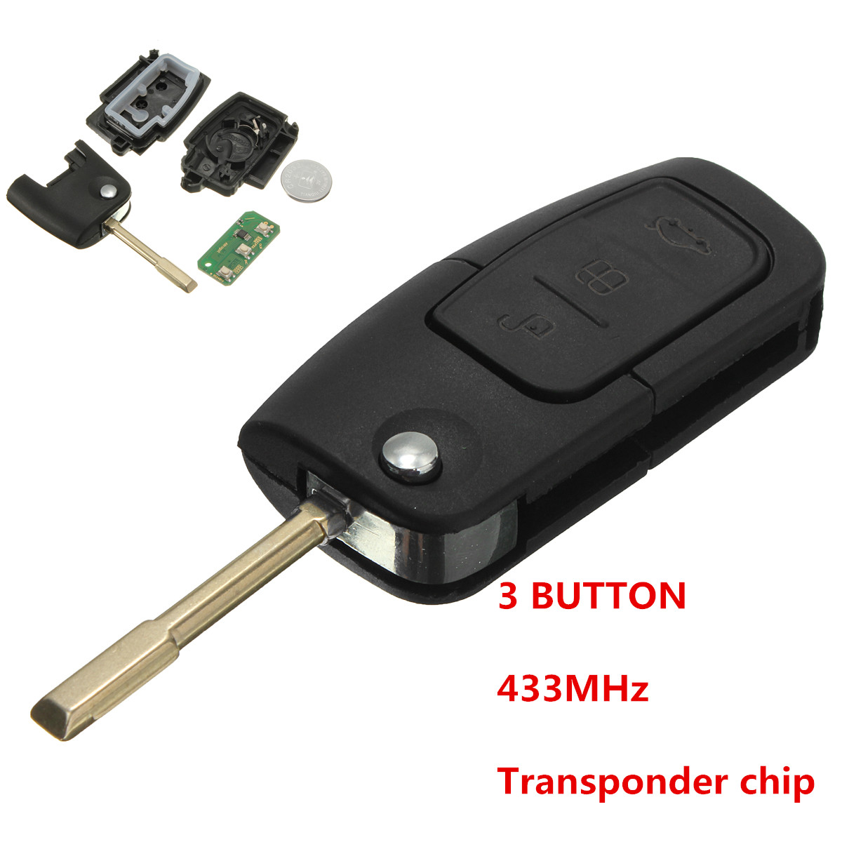 433mhz 3 button flip key fob transponder chip flip key. Black Bedroom Furniture Sets. Home Design Ideas
