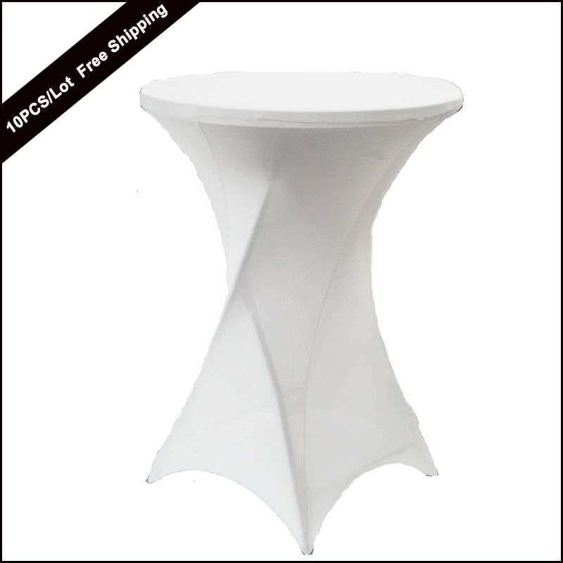 10 قطعة الأبيض 60 سنتيمتر lyrcra تمتد كوكتيل poseur الجاف بار دنة غطاء الطاولة الجدول القماش لل زينة الزفاف شريط غطاء القماش-في مفارش المائدة من المنزل والحديقة على  مجموعة 1