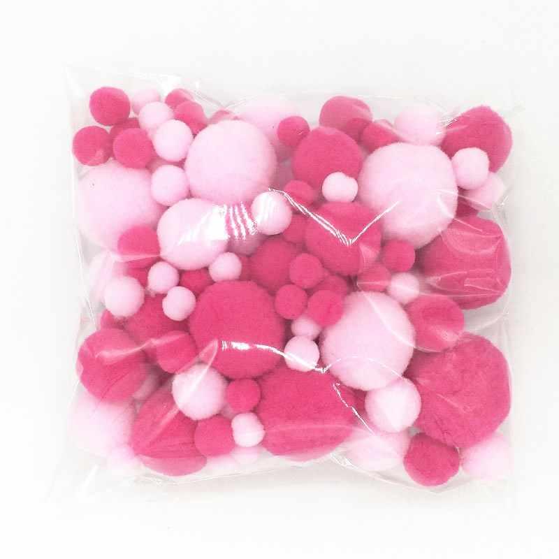 Rosa Vermelha Bolas De Pompom De Pele DIY Macio Pom Poms Artesanato Decoração de Casamento Cola sobre Acessórios de Pano 8 Pompones mm para 30mm 20g