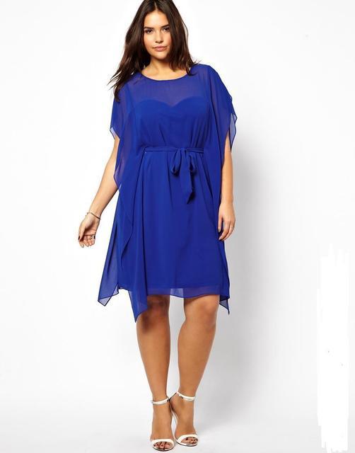 Fashion design sexy asymmetrical chiffon party dress plus size casual dress  with sashes decoration for shipping 3xl 4xl 5xl 6xl 21ebef66bdc1