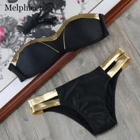 2018 Bronzing Swimsuit Women Patchwork Swimwear Black Bathing Suit Brazilian Push Up Bikini Bather Women S